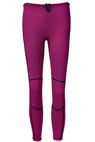 Realon Swim Tights Wetsuit Pants Men and Women's 3mm Neoprene Outdoor Recreation UV Suit Leggings Girls Water Sports XSPAN Surfing Scuba Diving Snorkeling Canoeing Stand Up Paddle (Violet Fuchsia, XL)