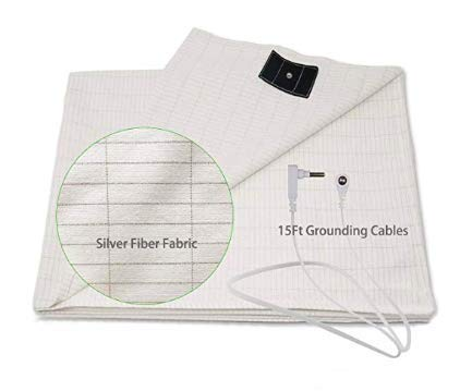 Gaia's Remedies Earthing Grounding Half Sheet with Connection Cord | Organic Cotton -Silver Antimicrobial Fiber for Better Sleep, Reduce Pain and Inflammation, Reconnect to the Earth EMF Recovery Conductive