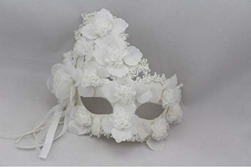 Party Masks - Male And Female Models Plus Feather Flower Lace White Full Face Mask Princess Masquerade Venetian - And Couples Holloween Women Adults 100 White Sticks Animal Masquerade]()