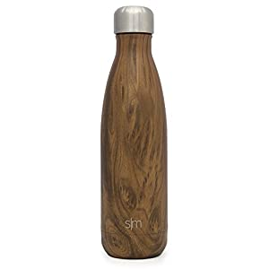 Simple Modern 17oz Wave Water Bottle - Vacuum Insulated Double-Walled 18/8 Stainless Steel Hydro Swell Flask - Concept Collection - Wood Grain