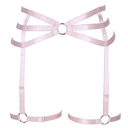 - Bondage Harness Women Mesh Garter Belt with Straps for Stockings/Lingerie Suspender (MLCP0010pink)