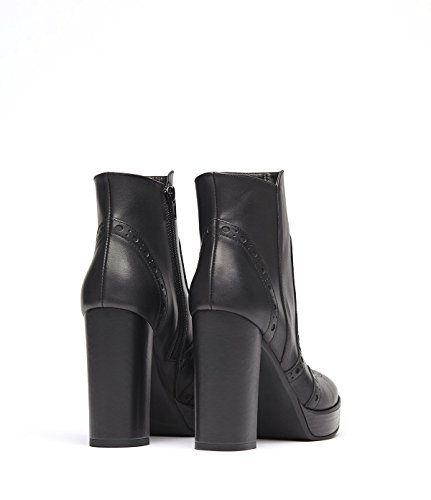 PoiLei Agata - chaussure femme / bottines en cuir noir à talon haut epais - compensé avec bout rond / surpiqué de détails richelieu