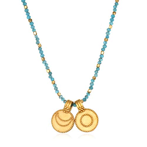 - Satya Jewelry Women's Apatite Gold Sun and Moon Pendant Necklace 18-Inch, Blue, One Size