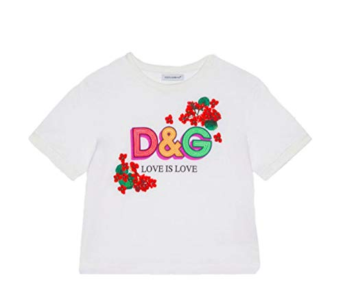 Dolce e Gabbana Girls L5jtbeg7trlw0800 White Cotton T-Shirt