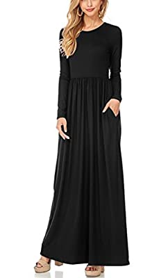 Women Long Sleeve Maxi Dress with Pockets Plain Loose Swing Casual Long Dresses