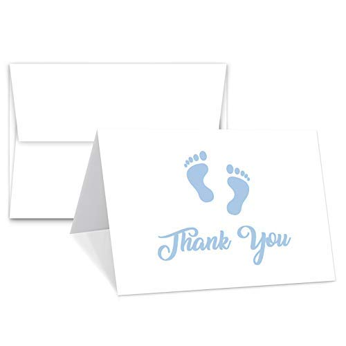 Baby Boy Blue Footprint Thank You Cards With