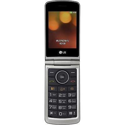 "LG Flip Phone Senior Unlocked GSM Only 2G G360 Dual Sim Duos Mp3 Camera BIG BUTTONS Facebook Twitter LCD 3.0"" Bluetooth Factory Desbloqueados (Titan)"