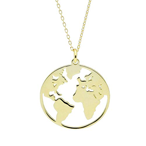 - ZLXPRO 18K Gold Globe Necklace 925 Sterling Silver World Map Pendant Boho Jewelry Travel Gift for Women