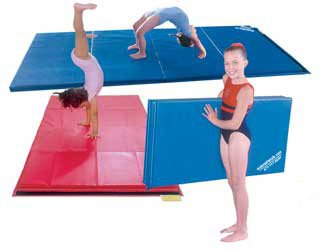 MatsMatsMats.com Folding Gymnastics Mat, 4'x8'x2, Light Gray, Hook and Loop fastener on 4 sides