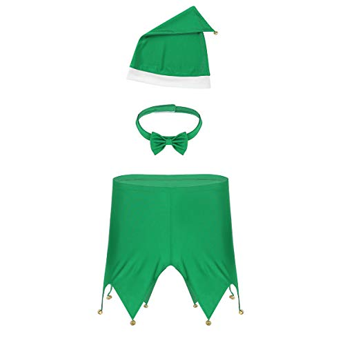Alvivi Sexy Men's 3 Pieces Christmas Elf Costume Novelty Boxer Shorts with Hat Bow Tie Lingerie Set Green Large -