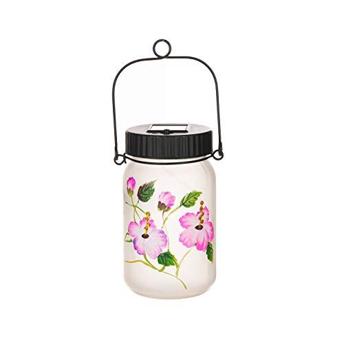 Topadorn Solar Glass Mason Jar OutdooGarden Decorative Light Waterproof Portable Hanging Lamp Hand Painted Lantern, Hummingbird