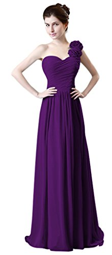 Kleid intense Formelle Eine Damen Chiffon drasawee Lang violet Brautjungfer Rüsche Party Schulter BZqxzwP