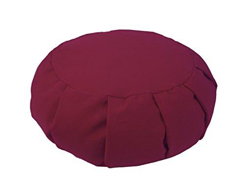 - Bean Products Plum - Round Pleated Zafu Meditation Cushion - Yoga - Organic 10oz Cotton - Organic Buckwheat Fill - Made in USA