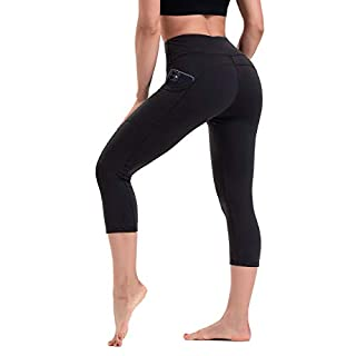 HLTPRO High Waist Yoga Capris Leggings with Pockets for Women - Tummy Control Workout Fitness Pants