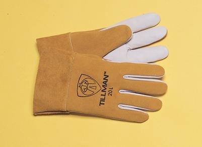 Tillman Large Bourbon Brown Top Grain Kidskin Standard Grade TIG Welders Gloves With Straight Thumb, 2'' Cuff And Kevlar® Lock Stitching