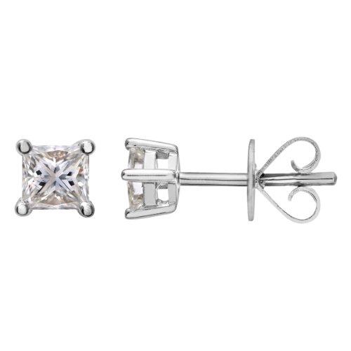Revoni Bague en or blanc-18carats boucles d'oreilles clous 1/3carat Diamant coupe princesse certifié J/I