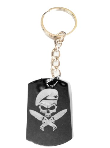 (Military Armed Force Skull with Knife Mf Weapons Tactical Gear Logo Symbols - Metal Ring Key Chain Keychain)