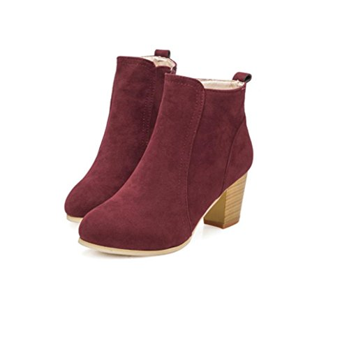 Zapatos interiores, Amlaiworld Mujeres Tobillo Tacones Altos Botas Martin Botas Rojo