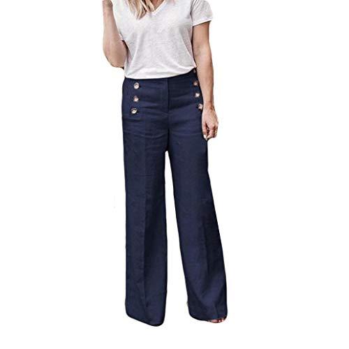 - Women Pants Casual Waist Wide Leg Pants Loose Elastic Button Pants