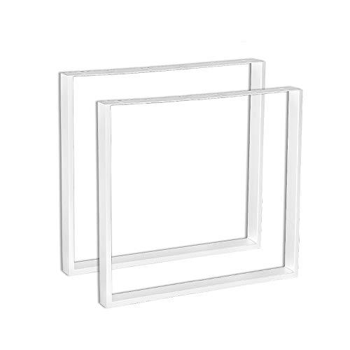Froadp 2 Piezas Rectangulo Pies de Banco Diseno industrial Marco Pies para muebles Patas de muebles Base para Mesa de Comedor Escritorio Mesa de Centro Banco DIY(Blanco, 60x72cm)
