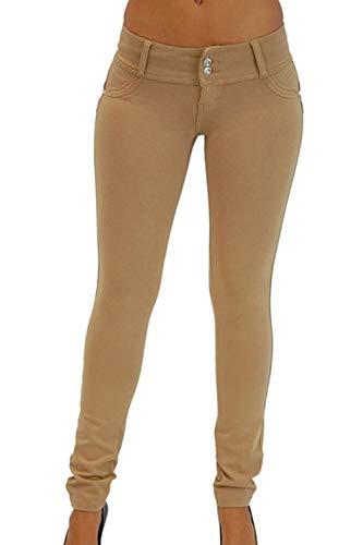 Vosujotis La Mujer Denim Jeans Alto Wasit Skinny Slim Bolsillo Pantalones Largos Khaki