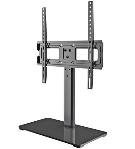 Universal TV Stand - Table Top TV Stand Fits Most 32-50 Inch LED, LCD TVs up to VESA 400 x 400mm 77 LBS Loading- 3 Height Adjustable with Solid Tempered Glass Base & Wire Management by EVERVIEW (Best Lg Top Load Washer 2019)