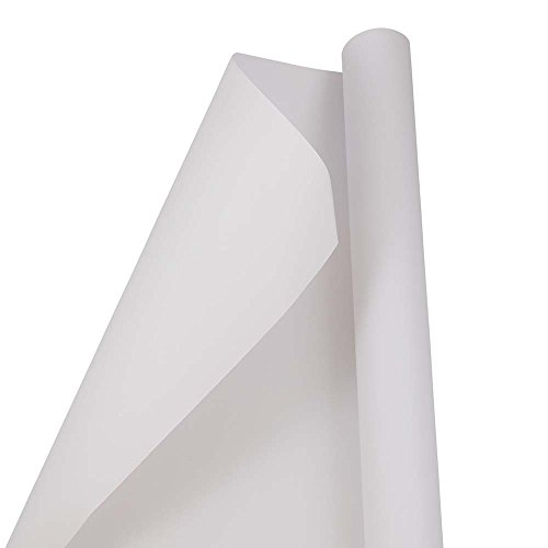 JAM PAPER Gift Wrap - Matte Wrapping Paper - 25 Sq Ft - Matte White - Roll Sold ()