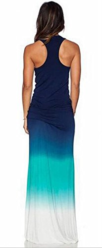 Jaycargogo Femmes Sans Manches Sexy Robe Légère Maxi Gradient Mince Bleu Moulante