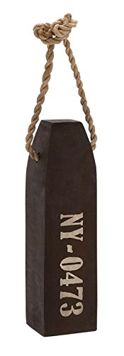 Deco 79 Wood Bouy with Rope Home Decor, 4 by 20-Inch, Faded ()