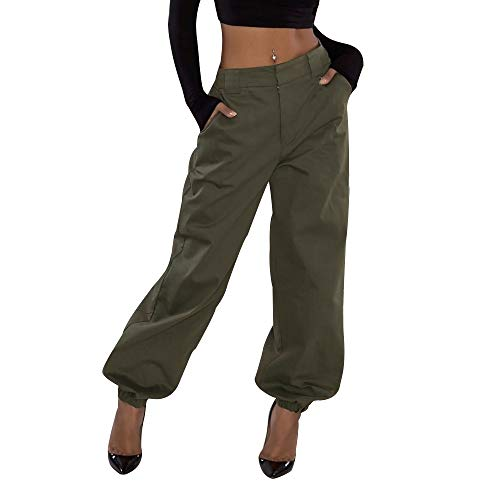 PASATO Womens Trousers Casual Pants Military Army Combat Beam Foot Pants Pocket Work Pants(Army Green,L=US:M)