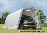 ShelterLogic 12-Ft.W Round-Style Instant Garage - 28ft.L x 12ft.W x 10ft.H, 1 5/8in. Frame, Grey, Model# 902233