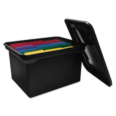 (File Tote Storage Box w/Lid, Legal/Letter, Plastic, Black)
