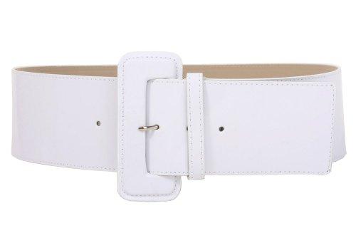Ladies High Waist Wide Patent Fashion Plain Leather Belt, White | S/M - 32