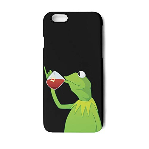 Frosted Black White Phone Case Back Cover for iPhone 6 and iPhone 6s Funny-Green-Frog-Sipping-Tea Fashionable Non-Slip Matte 3D Print PC TPU Shockproof -