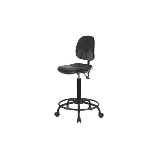 Casters Thomas Scientific 1179W46EA Medium Back Thomas ECOM PHBCH-MB-RT-T0-A0-RC Polyurethane High Bench Height Chair with Round Tube Base without Tilt//Arm