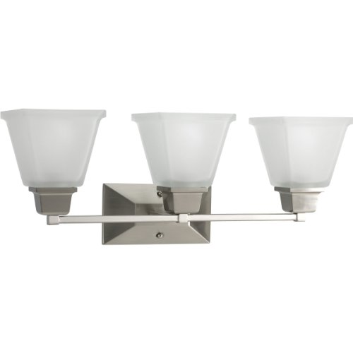 Light 9' Vanity Lamp (Progress Lighting P2743-09 3-Light Bath Fixture with Square Etched Glass and Can Mount Up or Down, Brushed Nickel)