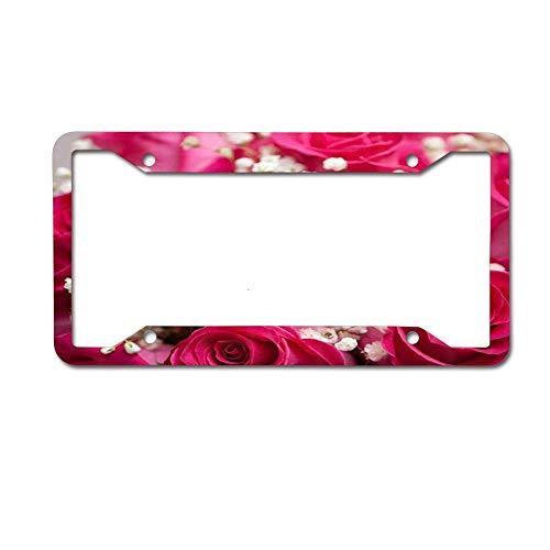 LANGZI GT Metal License Plates Decor Decoration for Car, Car Tag Rose Flowers Bath Rug Set Natural Floral Photography Love Wallpaper