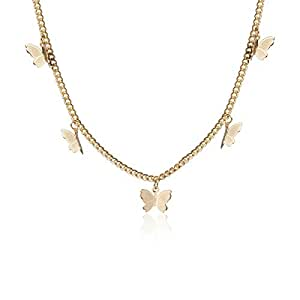 Kercisbeauty Gold Butterfly Necklace for Women Ladies Girls Gift Her Jewelry Butterfly Choker(Gold)
