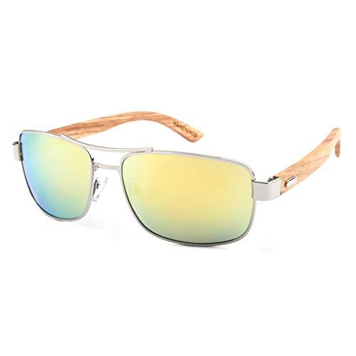 conducción metálico polarizadas Gafas clásicas Amarillo de Gray Unisex Marco bambú de bambú sol Gafas Gafas Color del Tx0zIw