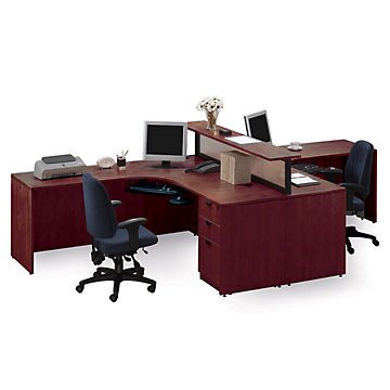 Amazon Com Cherry Two Person Workstation With Divider Office