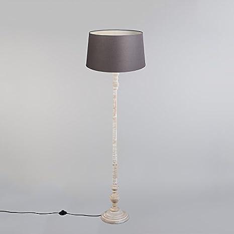 QAZQA Clásico/Antiguo Lámpara de pie CLASSICO pantalla lino marrón ...