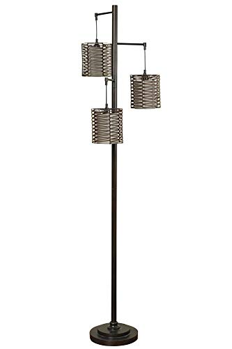 Delacora L72386DS Archer 72'' Tall Tree Style Floor Lamp with Hardback Fabric Shade