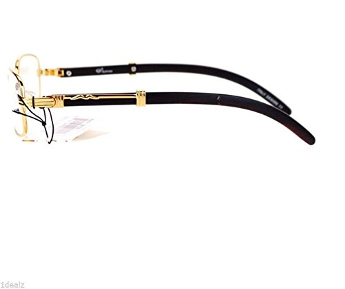 5f403ea79310 Amazon.com  Oval Wood Buffs Unisex clear glasses Oval UV400 Lenses and Gold  frame RICH  Clothing