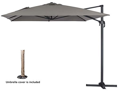LinkLife Outdoor Patio 8.2ft Square Offset Hanging Cantiliver Umbrella,Market Patio Umbrella Aluminum Pole 360°Rotation, for Garden, Deck, Backyard, with Umbrella Cover (Gray)