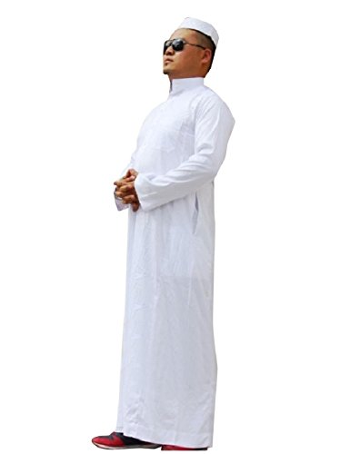Highisa Men Stand Collar Long-Sleeve Islamic Fine Cotton Muslim Thobe White 50 by Highisa (Image #4)