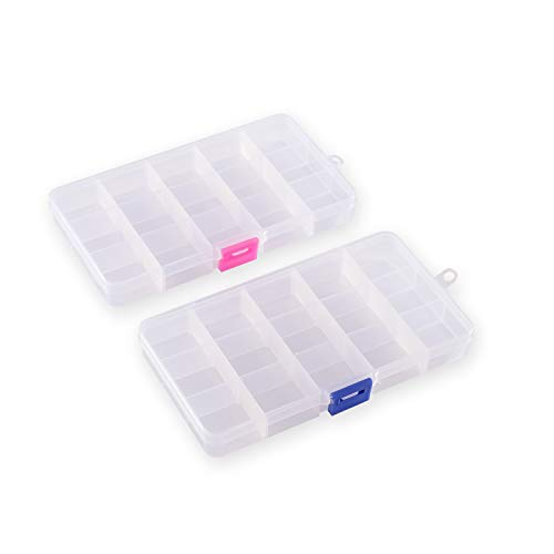 Plastic Organizer Container Boxes 15 Compartments Jewelry Storage Boxes with Adjustable Dividers (2 Pack)