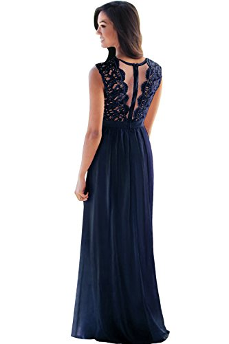 Sleeveless Lace Bridesmaid Dresses Long Chiffon Sheer Prom Party Gowns US14 Navy