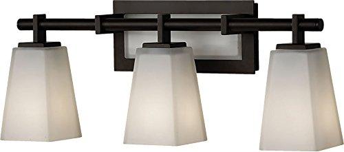 (Feiss VS16603-ORB Clayton Glass Wall Vanity Bath Lighting, Bronze, 3-Light (22