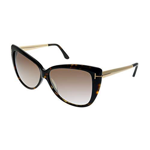 Tom Ford Womens Reveka Signature T-Bar Shield Sunglasses Brown ()