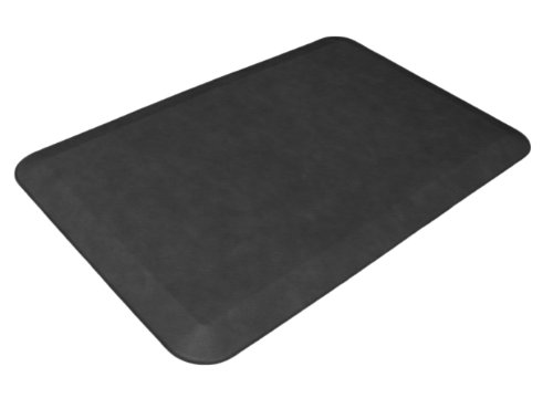 """NewLife by GelPro Anti-Fatigue Designer Comfort Kitchen Floor Mat, 20x32"""", Leather Grain Jet Stain Resistant Surface with 3/4"""" Thick Ergo-foam Core for Health and Wellness"""